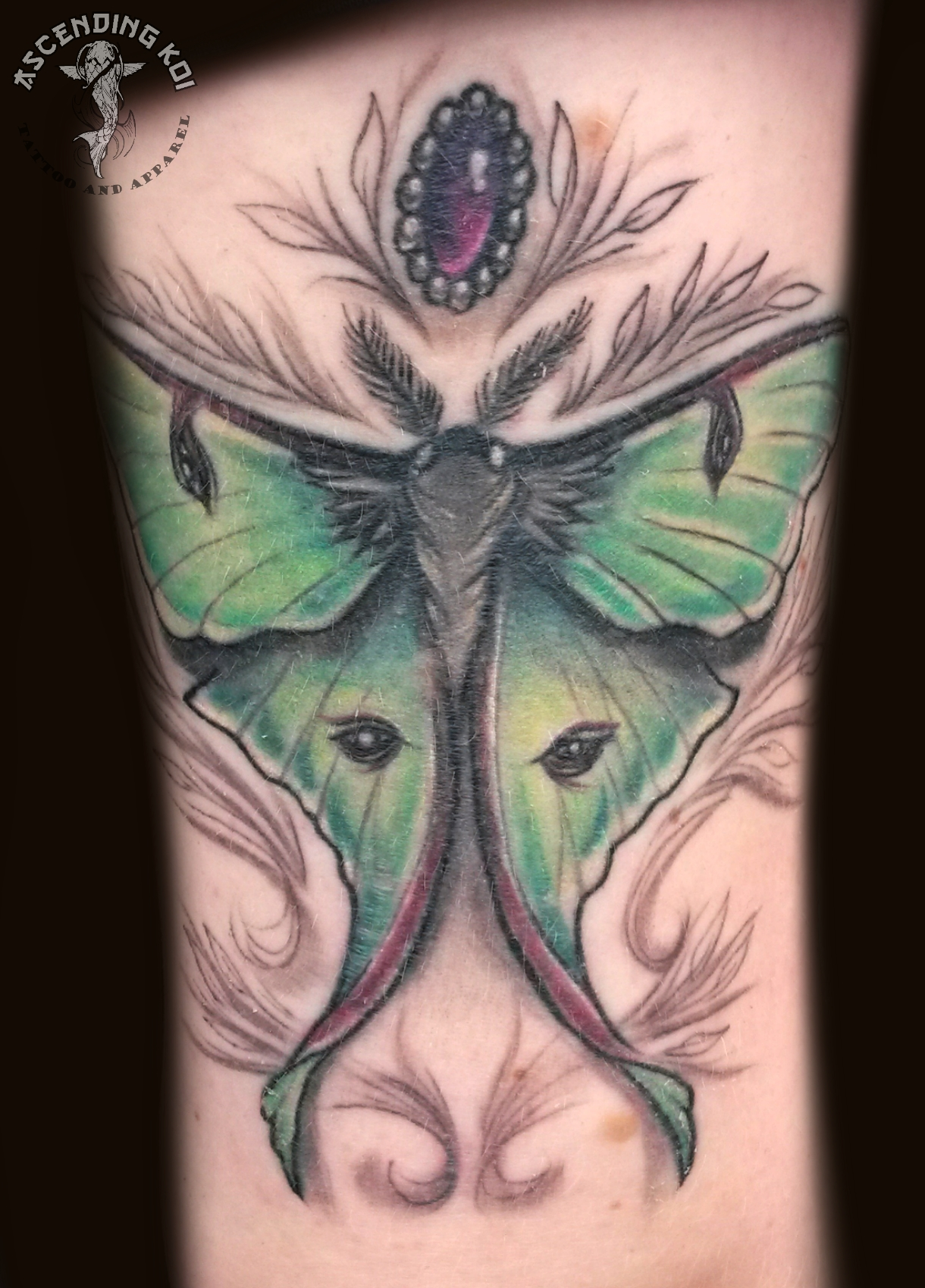 Luna moth tattoo