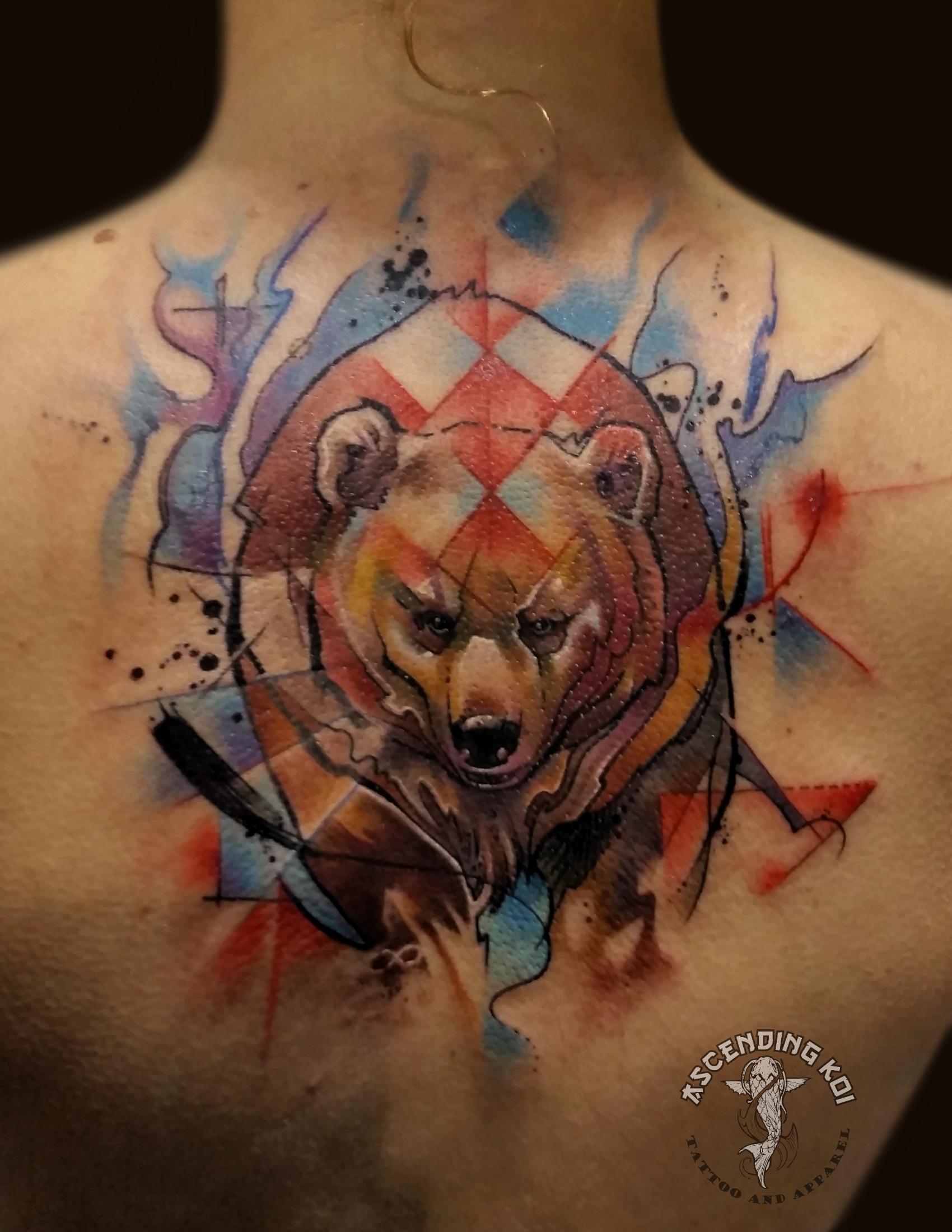 Bear watercolor tattoo - photo#18